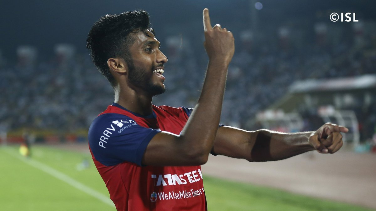 Farukh Choudhary celebrating after scoring against Northeast United FC. Pic Coutesy : ISL Media